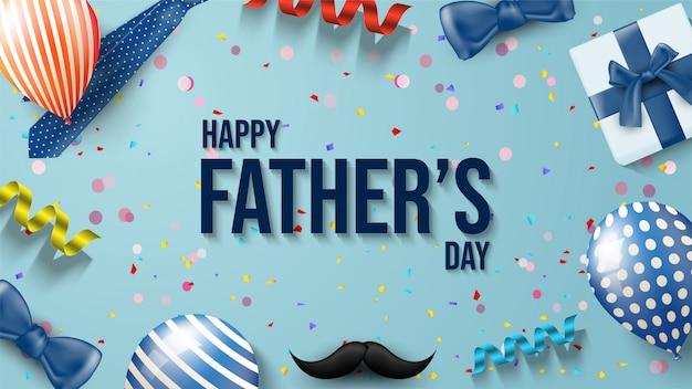 Fondo del día del padre con ilustraciones de globos, cajas de regalo, bigotes, cintas y corbata. Vector Premium