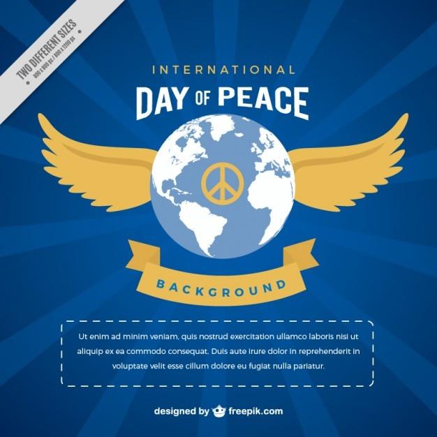 Fondo Del Día De La Paz Del Mundo Con Alas Vector Gratis