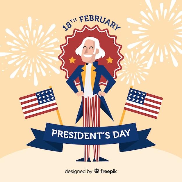 Fondo día del presidente george washington sonriente vector gratuito