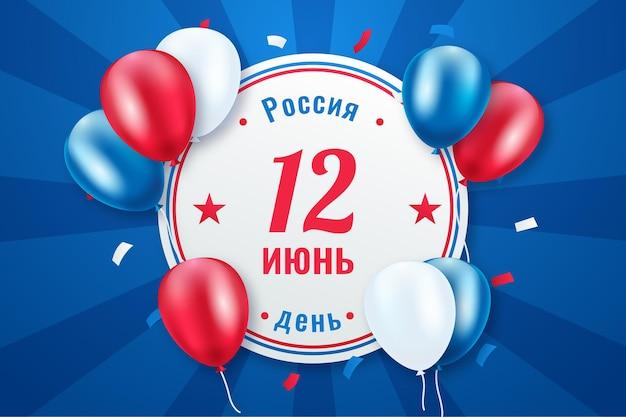 Fondo del día de rusia con confeti y globos vector gratuito