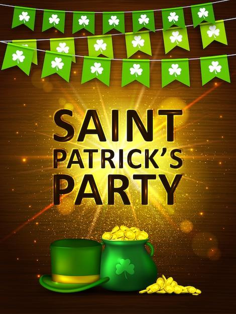 Fondo del día de san patricio. banderas coloridas guirnaldas con trébol, monedas y sombrero verde. banner de vacaciones Vector Premium