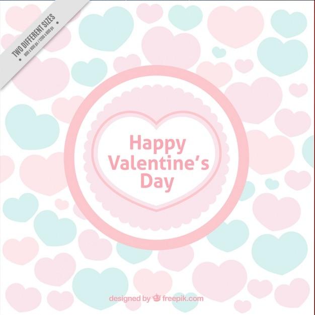 Fondo del día de san valentín con corazones en colores pastel ...