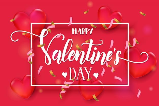 Fondo del día de san valentín con corazones rojos 3d, serpentina y marco. Vector Premium