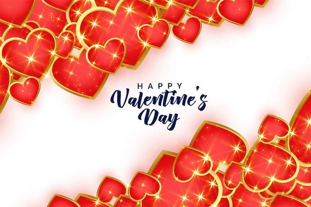 Fondo de día de san valentín de corazones rojos y dorados brillantes vector gratuito