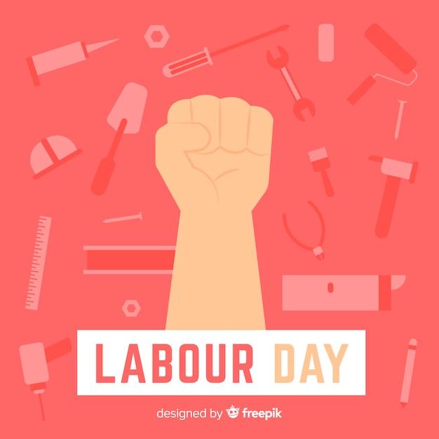 Fondo del día del trabajador en diseño plano vector gratuito