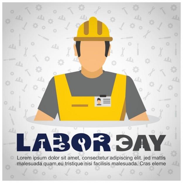 Fondo del día del trabajo de obrero con casco vector gratuito