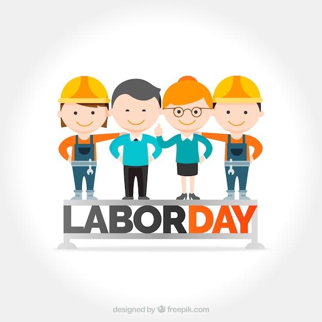 Fondo del día del trabajo con simpáticos trabajadores vector gratuito