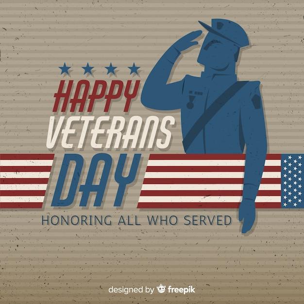 Fondo de día de los veteranos con soldado y bandera vector gratuito