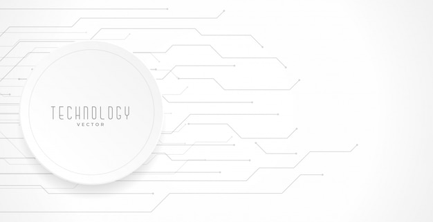 Fondo de diagrama de líneas de circuito de tecnología blanca vector gratuito