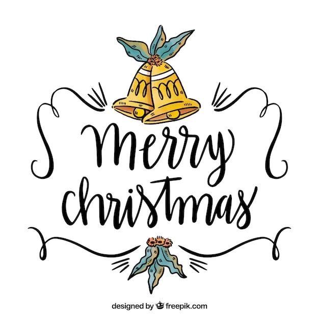 fondo dibujado a mano con campanas navideas y letras caligrficas vector gratis campanas navideas - Campanas Navideas