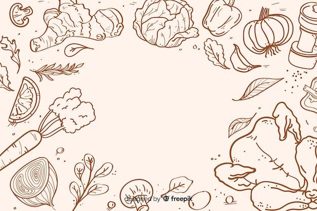 Fondo dibujado de alimentos saludables vector gratuito