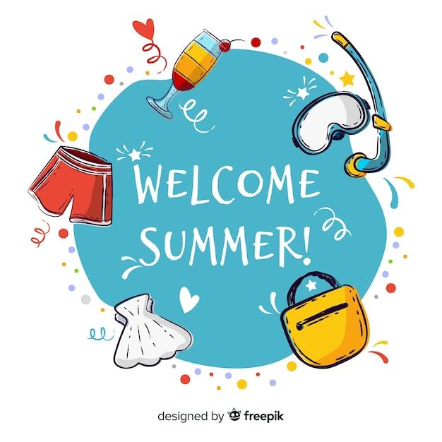 Fondo dibujado de bienvenida al verano vector gratuito