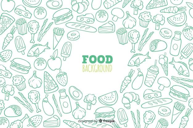 Fondo dibujado de comida deliciosa vector gratuito