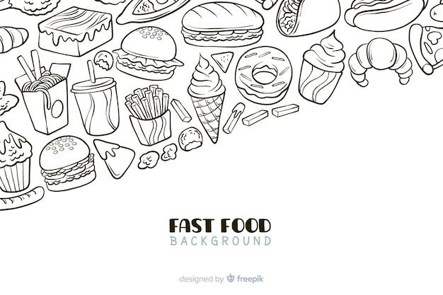 Fondo dibujado de comida rápida vector gratuito
