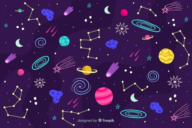 Fondo dibujado del espacio exterior vector gratuito