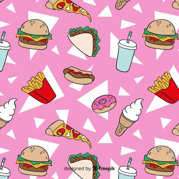 Fondo dibujado de estampado de comida rápida vector gratuito