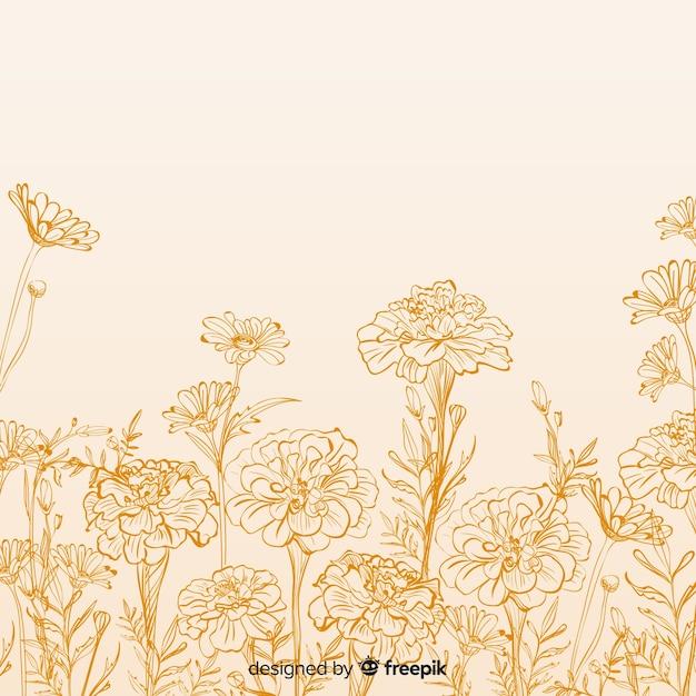 Fondo dibujado de flores y hojas vector gratuito