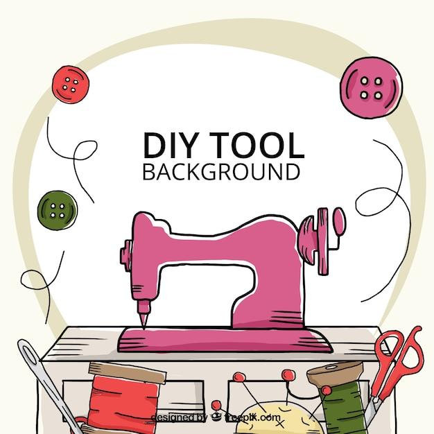 Fondo dibujado a mano acerca de las herramientas de costura vector gratuito