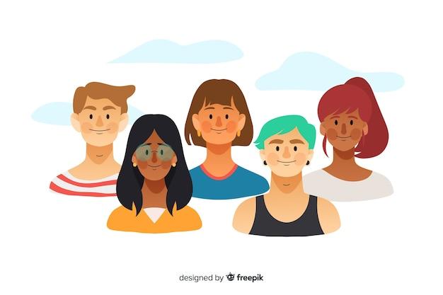 Fondo dibujado a mano concepto diversidad vector gratuito
