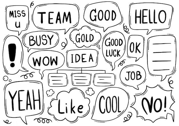 Fondo dibujado a mano conjunto de texto lindo discurso burbuja eith en estilo doodle Vector Premium