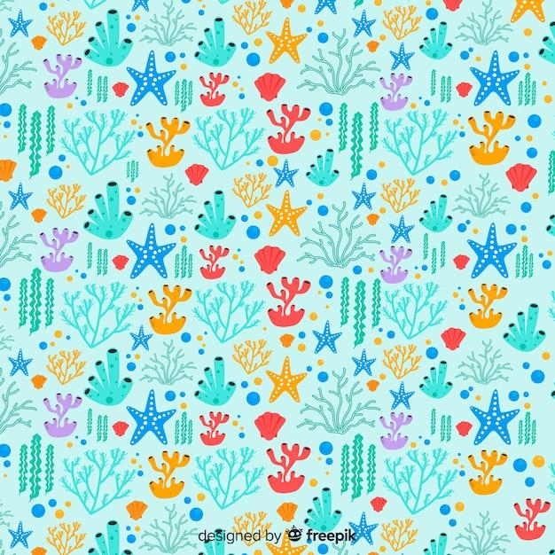 Fondo dibujado a mano coral colorido vector gratuito