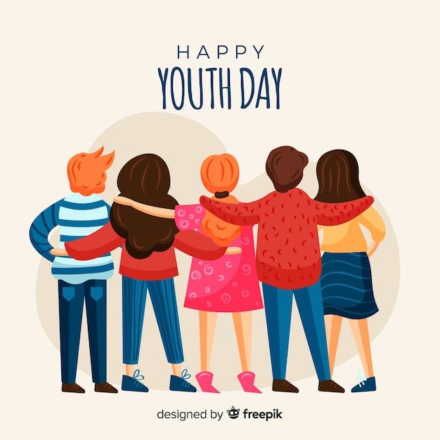 Fondo dibujado a mano del día de la juventud. vector gratuito