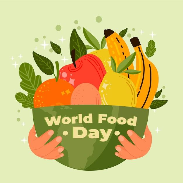 Fondo dibujado a mano del día mundial de la alimentación con tazón vector gratuito