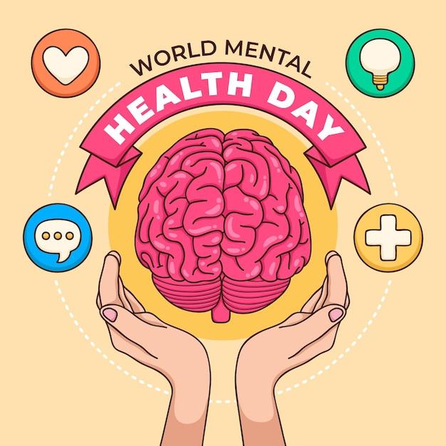 Fondo dibujado a mano día mundial de la salud mental con cerebro y manos Vector Premium
