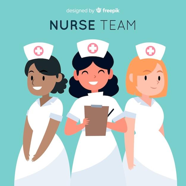Fondo dibujado a mano equipo de enfermeras vector gratuito