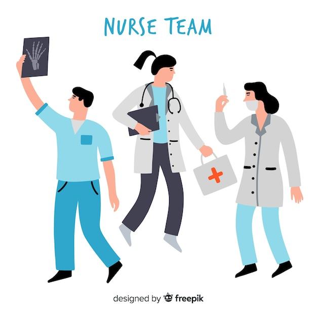 Fondo dibujado a mano equipo de enfermeros vector gratuito