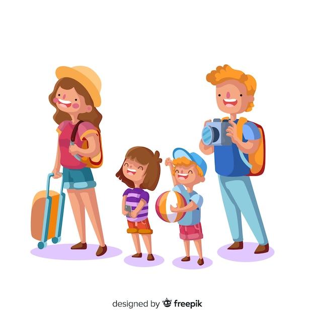 Fondo dibujado a mano familia feliz viajando vector gratuito