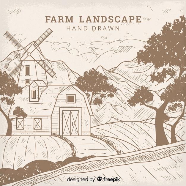 Fondo dibujado a mano paisaje granja sin color vector gratuito