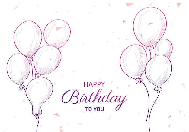 Fondo de dibujo de cumpleaños con globos dibujados a mano vector gratuito