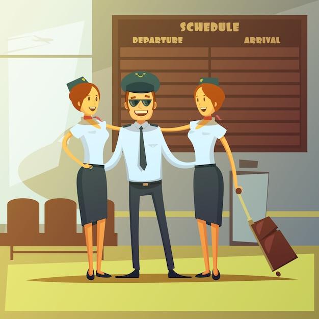 Fondo de dibujos animados de aerolíneas vector gratuito