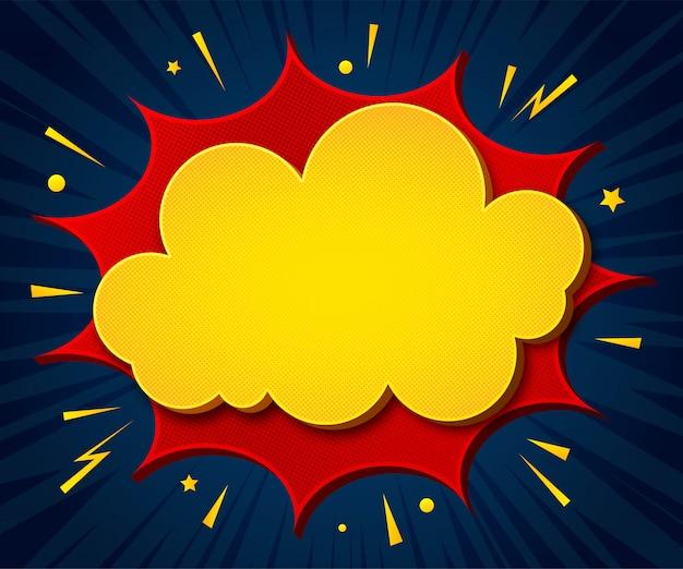 Fondo de dibujos animados cartel en estilo pop art con burbujas de discurso amarillas - rojas con medios tonos y efectos de sonido Vector Premium