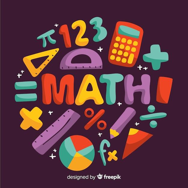 Fondo dibujos animados concepto matemáticas Vector Premium