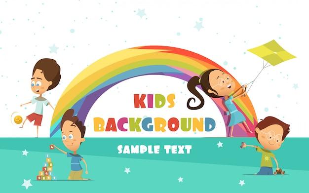 Fondo de dibujos animados de niños jugando con arco iris vector gratuito