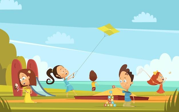Fondo De Dibujos Animados De Niños Jugando Con Símbolos