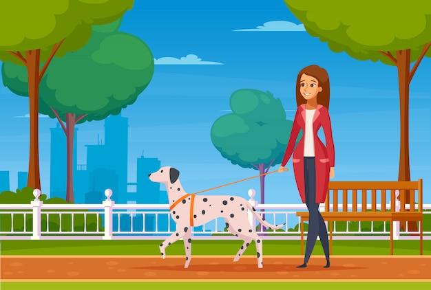 Fondo de dibujos animados de personas con mascotas vector gratuito