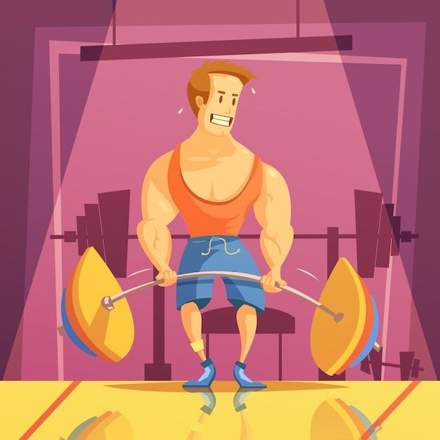 Fondo de dibujos animados de peso muerto y gimnasio con pesas y barra vector gratuito