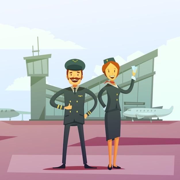 Fondo de dibujos animados de piloto y azafata vector gratuito