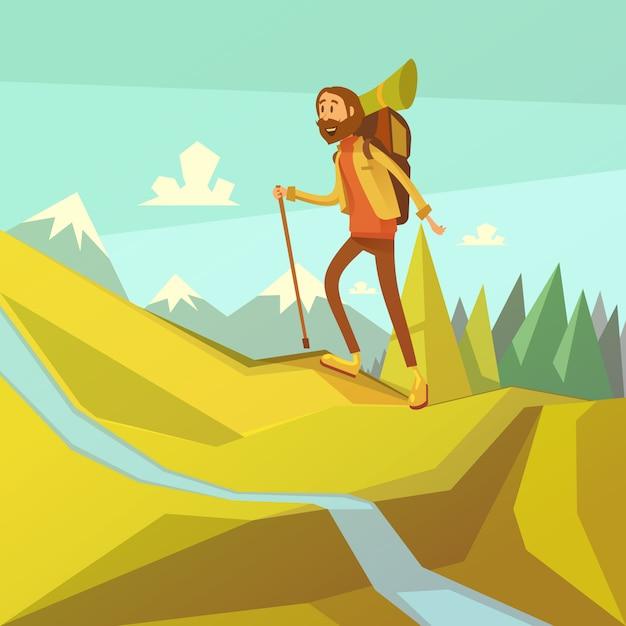 Fondo de dibujos animados de senderismo y montañismo vector gratuito