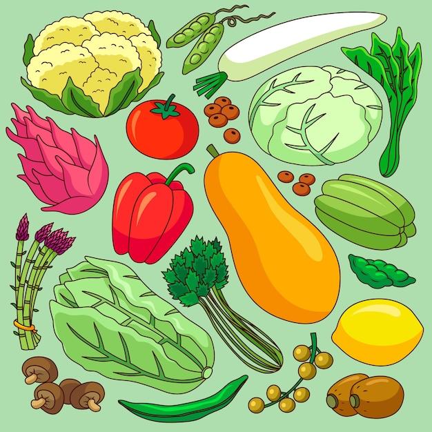Fondo de diferentes frutas y verduras Vector Premium