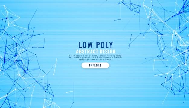 Fondo digital abstracto azul bajo poli líneas vector gratuito