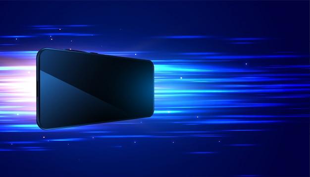 Fondo digital de alta velocidad de tecnología móvil vector gratuito