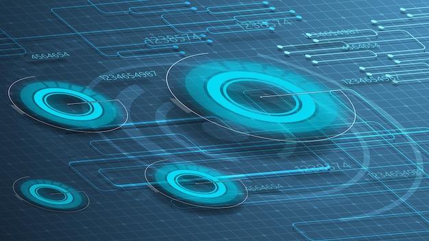 Fondo digital azul para tu creatividad con gráficos redondos. Vector Premium