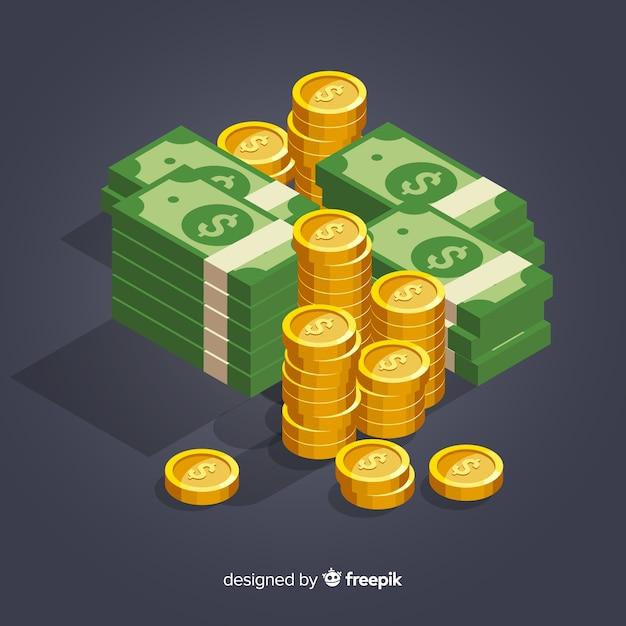Fondo dinero isométrico vector gratuito
