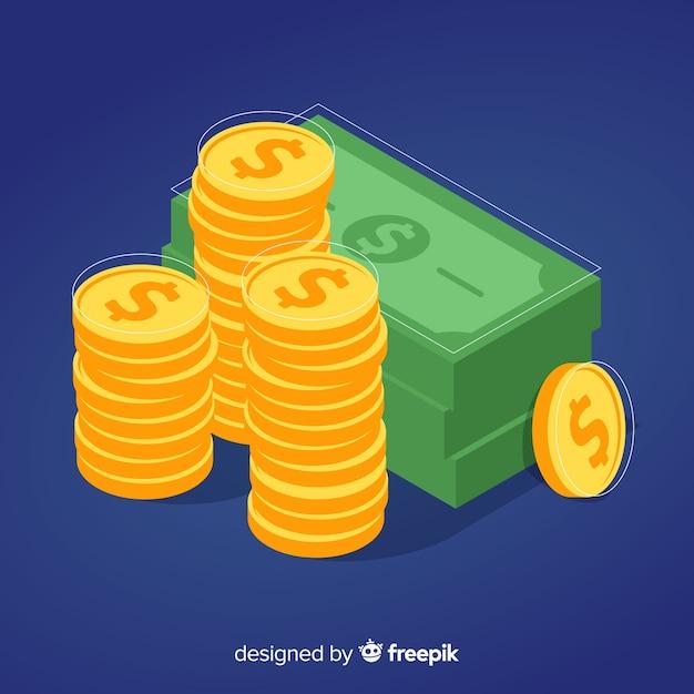 Fondo de dinero en isométrico vector gratuito