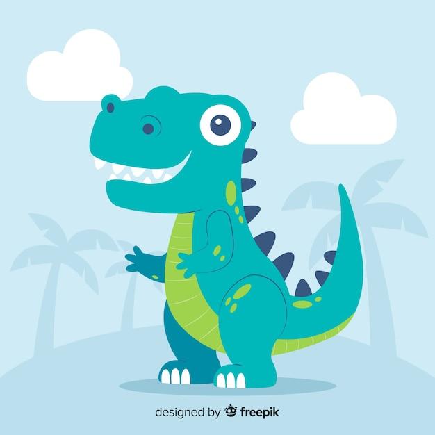 Fondo de dinosaurio t-rex en diseño plano vector gratuito