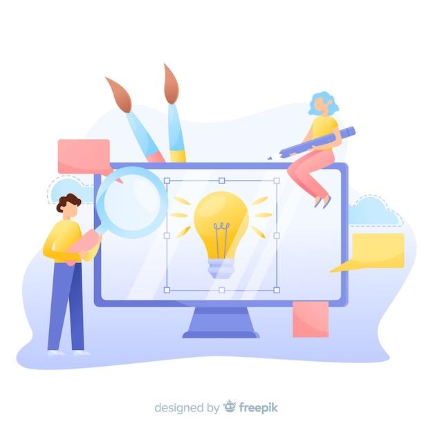 Fondo de diseñadores gráficos trabajando juntos en una idea vector gratuito